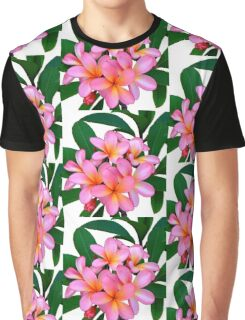 Pink Frangipani Flowers Photograph Graphic T-Shirt
