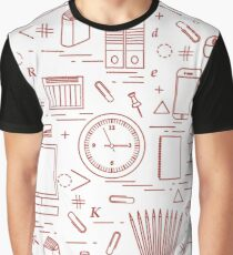 Set of different office objects arranged in a circle. Including icons of paper clips, buttons, pencils, glue, monitor, clock and other. Graphic T-Shirt
