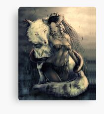 The wolf and the girl Canvas Print