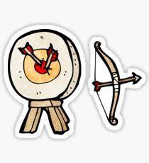 archery target and bow cartoon Sticker