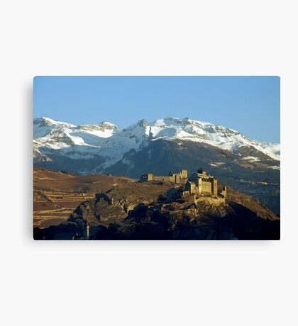 First sumbeams on Sion castle - Switzerland Canvas Print