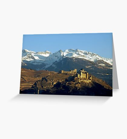 First sumbeams on Sion castle - Switzerland Greeting Card
