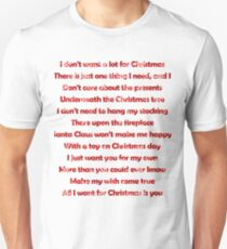 mariah carey all i want for christmas is you lyrics unisex t shirt - All I Want For Christmas Is You Mariah Carey Lyrics