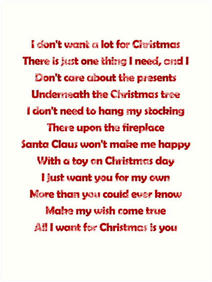 mariah carey all i want for christmas is you lyrics by laura downing - I Dont Want Alot For Christmas Lyrics