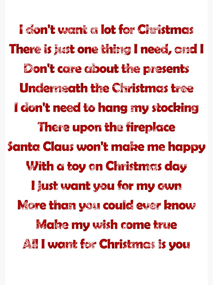 Mariah Carey All I Want For Christmas Is You Lyrics Greeting Card By Laura Downing Redbubble
