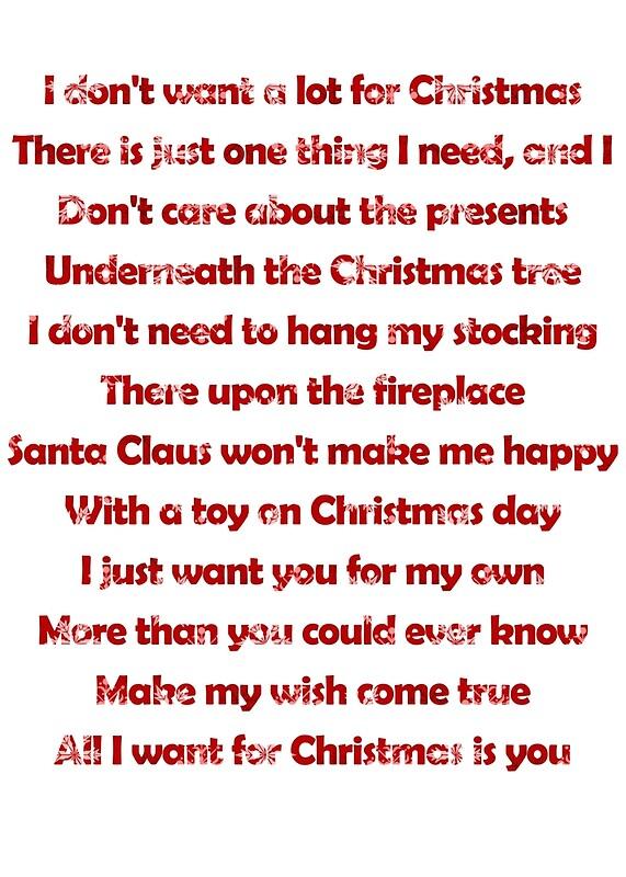 All I Want For Christmas Lyrics.Mariah Carey All I Want For Christmas Is You Lyrics Art Print