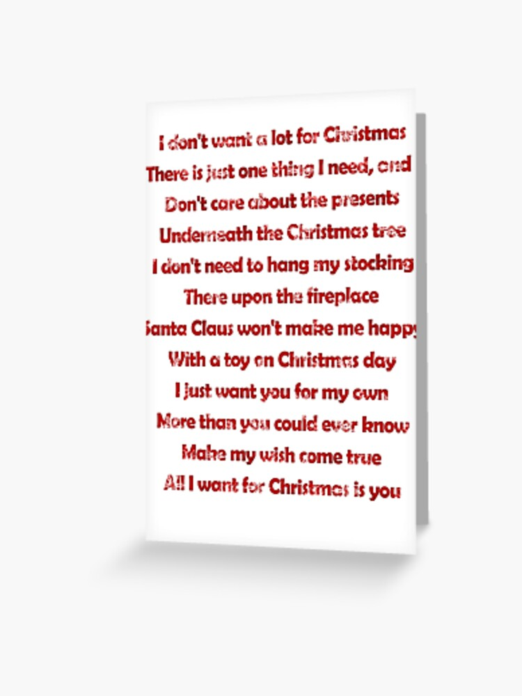 All I Want For Christmas Is You Lyrics.Mariah Carey All I Want For Christmas Is You Lyrics Greeting Card