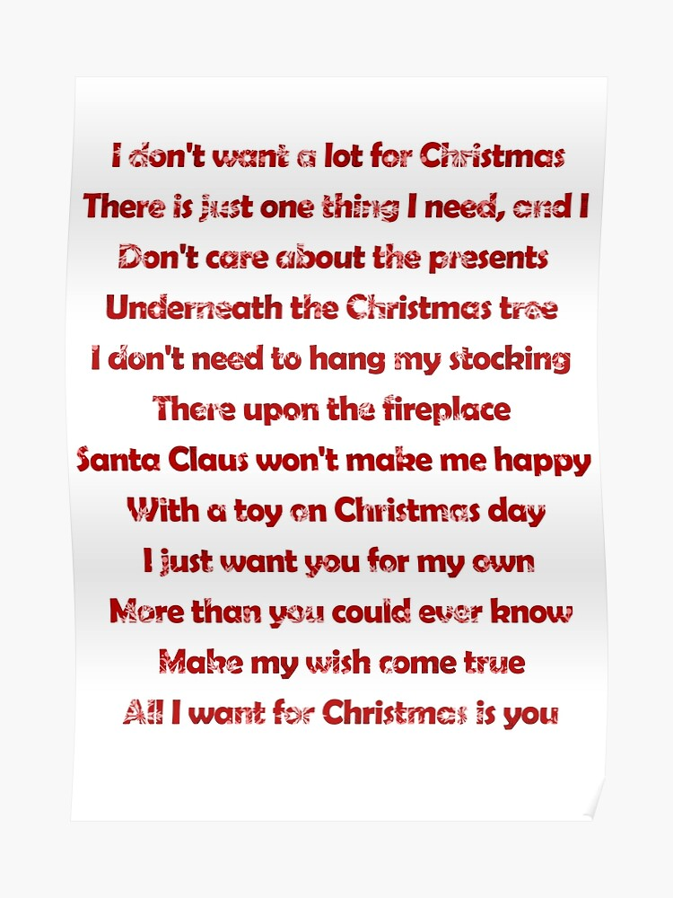 Mariah Carey All I Want For Christmas Is You Lyrics.Mariah Carey All I Want For Christmas Is You Lyrics Poster