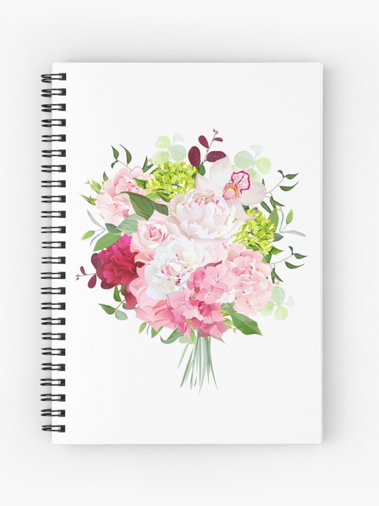 1e27f05a2f365 Beautiful vector bouquet with peony, rose, carnation, hydrangea, orchid,  green plants