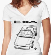 Nissan Exa Action Shot (LHD) Women's Fitted V-Neck T-Shirt