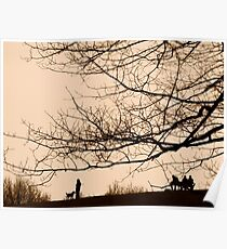 Parliament Hill Dog Walking Silhouette Poster