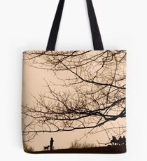 Parliament Hill Dog Walking Silhouette Tote Bag
