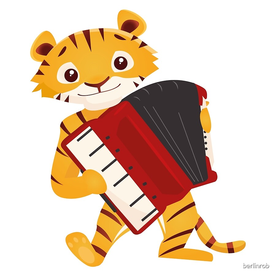 cartoon tiger playing music with accordion