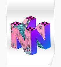 Nintendo 64 Vaporwave Logo Poster