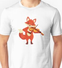 Funny fox playing music with violin Unisex T-Shirt