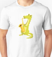 Cartoon crocodile playing music with saxophone Unisex T-Shirt