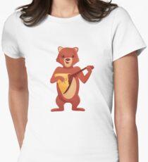 Happy cartoon bear playing music with balalaika T-Shirt