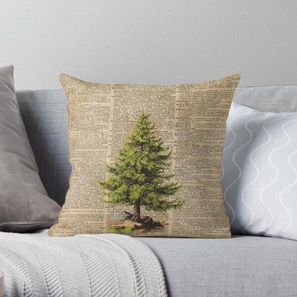 Pine Tree,Cedar Tree,Forest,Nature Dictionary Art,Christmas Tree Throw Pillow