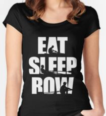 Eat Sleep Row T Shirt - Rowing Canoing Kayak Women's Fitted Scoop T-Shirt