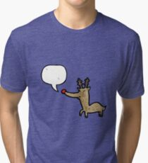 cartoon red nosed reindeer Tri-blend T-Shirt