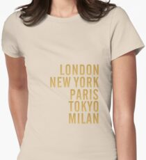 Cities on Pink Women's Fitted T-Shirt