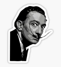 Salvador Dali Black Portrait Sticker