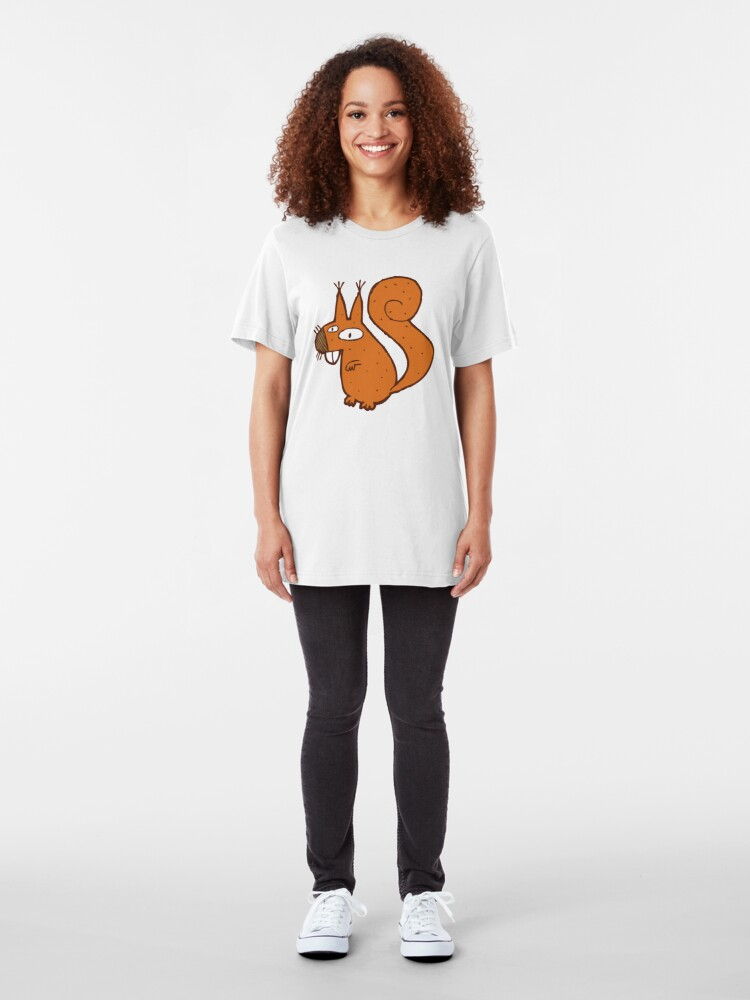 Alternate view of Cute cartoon squirrel Slim Fit T-Shirt