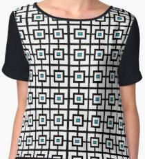 Black White and Blue Square Tiles Chiffon Top