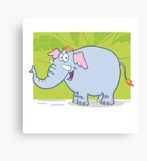Cute funny cartoon elephant Canvas Print