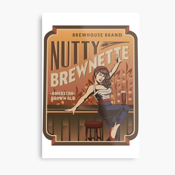 The Nutty Brewnette, American Brown Ale Metal Print