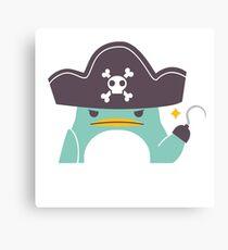 Grumpy cartoon pirate penguin Canvas Print