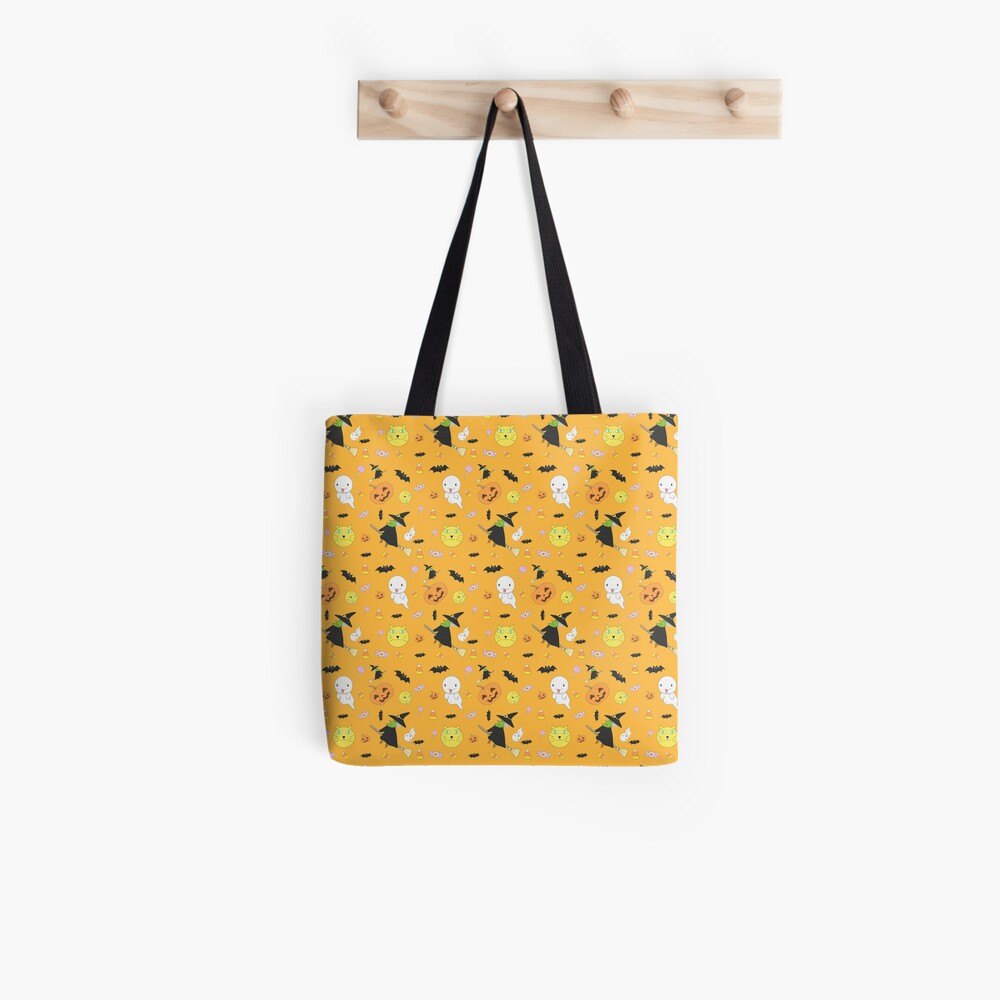 Halloween Pattern feat. Witch, Ghost, Pumpkin and More Tote Bag