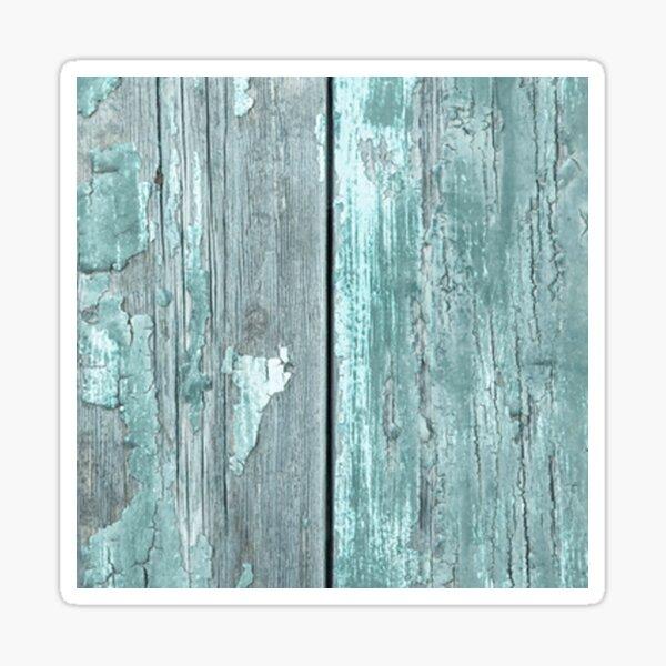 shabby chic, pays minable, rustique, sarcelle d'hiver, menthe, gris, mur en bois, vintage, moderne, à la mode Sticker