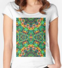 Fractal Floral Abstract G87 Women's Fitted Scoop T-Shirt