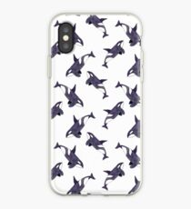 Watercolor monochrome pattern with orca iPhone Case