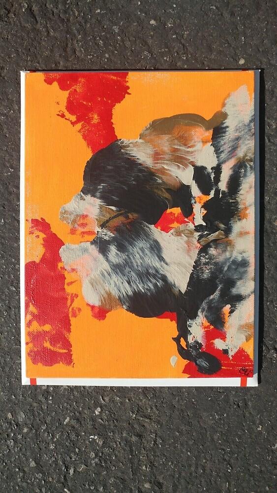 Orange Black Abstract Art Painting Artwork Weird Unique