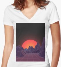 80s Vaporwave Retro Women's Fitted V-Neck T-Shirt