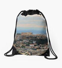 The Parthenon Overlooks The City Drawstring Bag