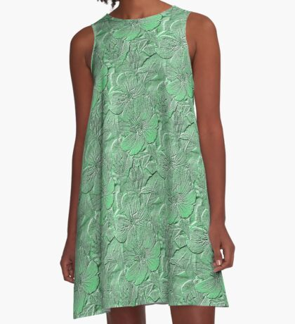 Green Daisy Flowers Pattern A-Line Dress