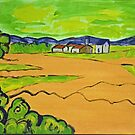 Acrylic painting. Farmland, bushes, and farm houses. Van Gogh  by naturematters