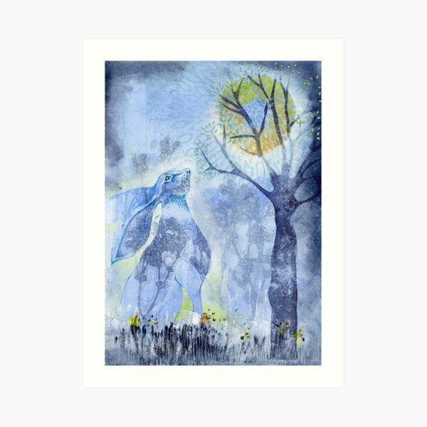 The Hare at Full Moon Art Print
