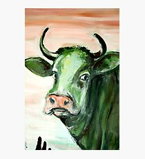 green cow expressionism acrylic painting face pink sky Photographic Print