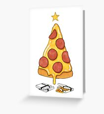 pizza christmas tree Greeting Card