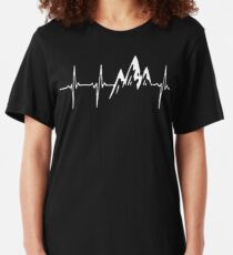 MOUNTAIN IN MY HEARTBEAT T SHIRT  Slim Fit T-Shirt