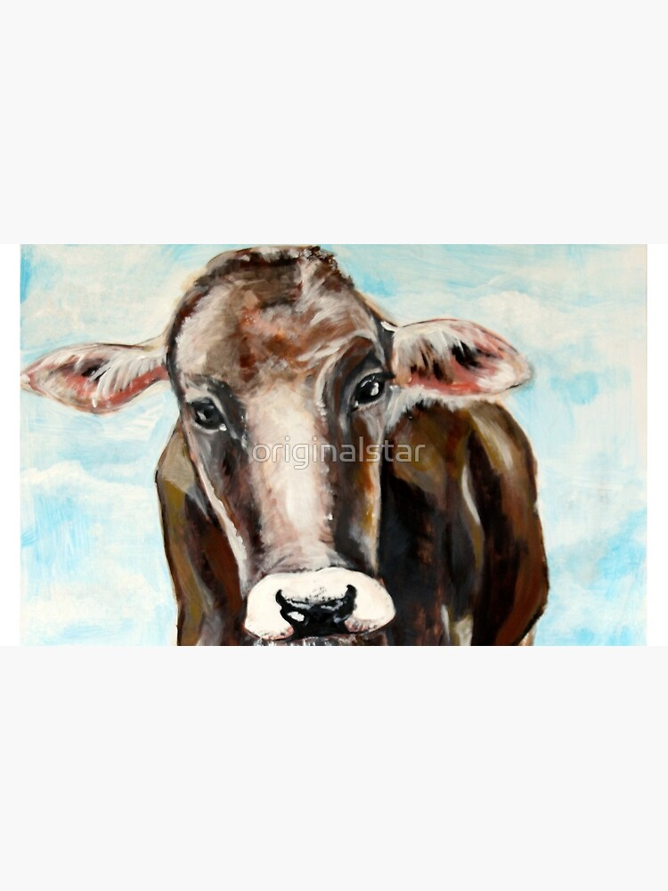 cow calf look sad directly face sky acrylic painting by originalstar