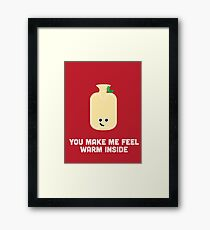 Christmas Character Building - You make me feel warm inside Framed Print