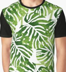 Tropical Leaves - Green Graphic T-Shirt