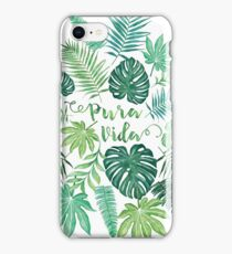 Tropical Pura Vida Palm Leaves and Monstera Watercolor iPhone Case/Skin