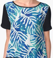 Tropical Leaves – Blue Abstract Chiffon Top