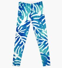 Tropical Leaves – Blue Abstract Leggings